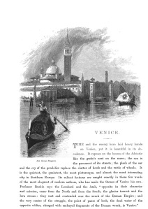 Frontespizio del capitolo «Venice», di T. G. Bonney, (Picturesque Europe, 1878).